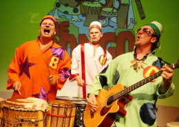 Join the three brothers as they ride the waves of drum and bass in a slapstick, percussive, cartoon adventure around Australia and the world.